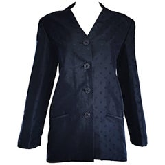 Geoffrey Beene Vintage Black Polka Dots 1990s 90s Classic Silk Jacket Blazer