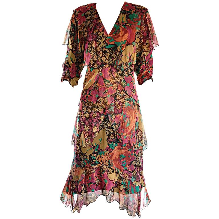 Incredible Vintage Holly's Harp Boho Silk Chiffon Autumnal Floral Dress Sz Large
