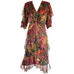 Holly's Harp Incredible Vintage Size Large Boho Silk Chiffon Floral Dress