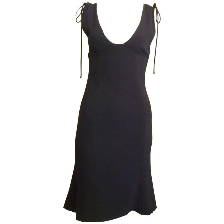 1990s Valentino Light Wool Navy Blue Dress (s) For Sale