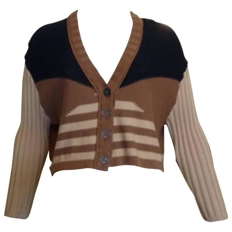 Sonia Rykiel Cropped Cotton Cardigan, 1980s  For Sale