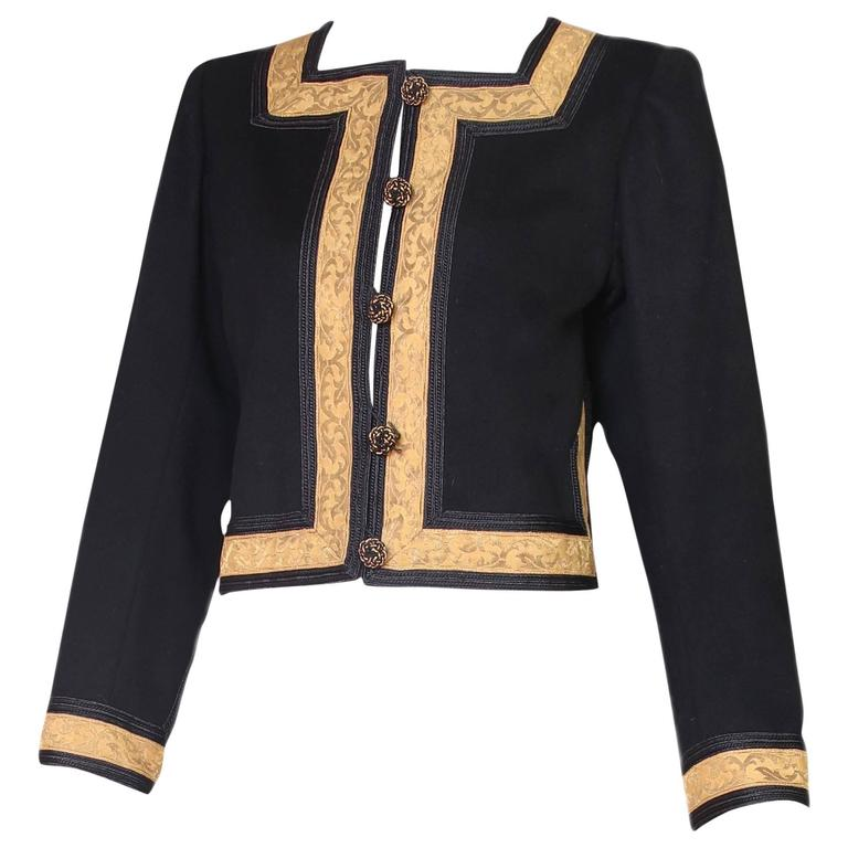 1970's Yves Saint Laurent YSL Russian Collection Jacket w/Brocade Trim 1