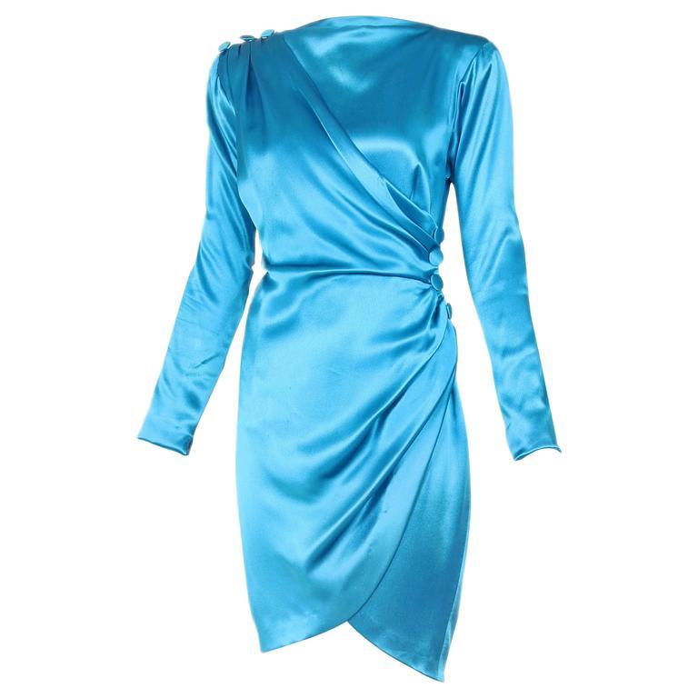 1987 A/H Yves Saint Laurent YSL Haute Couture Electric Blue Silk Cocktail Dress For Sale
