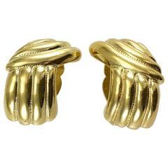 Yves Saint Laurent Undulating Gilt Earrings - 1980's