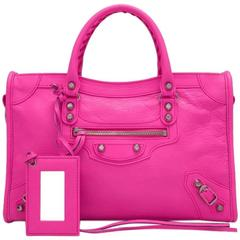Balenciaga 2016 Hot Pink Small City Classic Silver Hardware