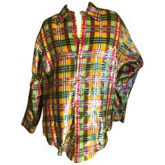 Oscar de la Renta 1980 Plaid Silk Sequin Shirt or Blouse XXL Men's