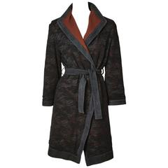 Versace Wool Belted Coat With Lace Overlay