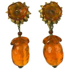 Miriam Haskell Topaz Flower Earrings