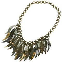 French Multi Leaf Fringe Necklace