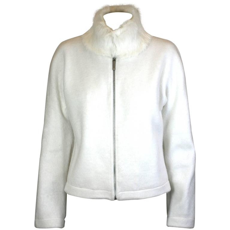 Moschino Felted Fleece Zip Jacket with Rabbit Collar For Sale