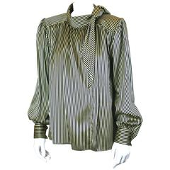 Yves Saint Laurent Silk Satin Tie Blouse
