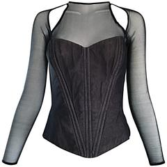 Vintage Vicky Tiel Couture Sexy Black Cut - Out Silk Moire Bustier Corset Top