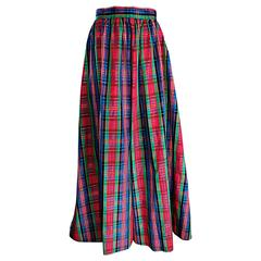 Chic 1960s Tartan Plaid Vintage 60s Taffeta Red + Green + Blue Long Full Skirt