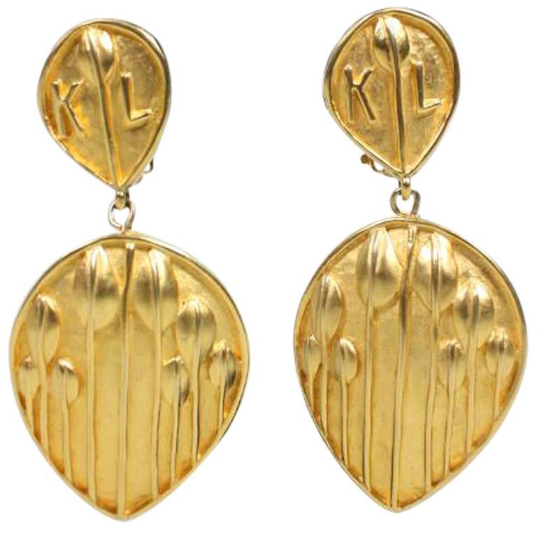 Karl Lagerfeld Leaf Drop Earrings 1