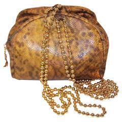 C.1980 Maud Frizon Snakeskin Handbag With Jewelry Style Shoulder Handle