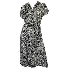 1940s Black & White Graphic Print Silk Chiffon Dress