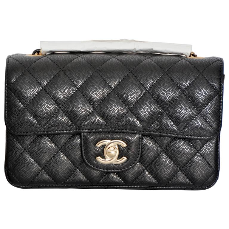 CHANEL  17 Rectangle New Mini Black Caviar Light Gold Flap RARE SOLD OUT at  1stdibs 783b8a8d23acd