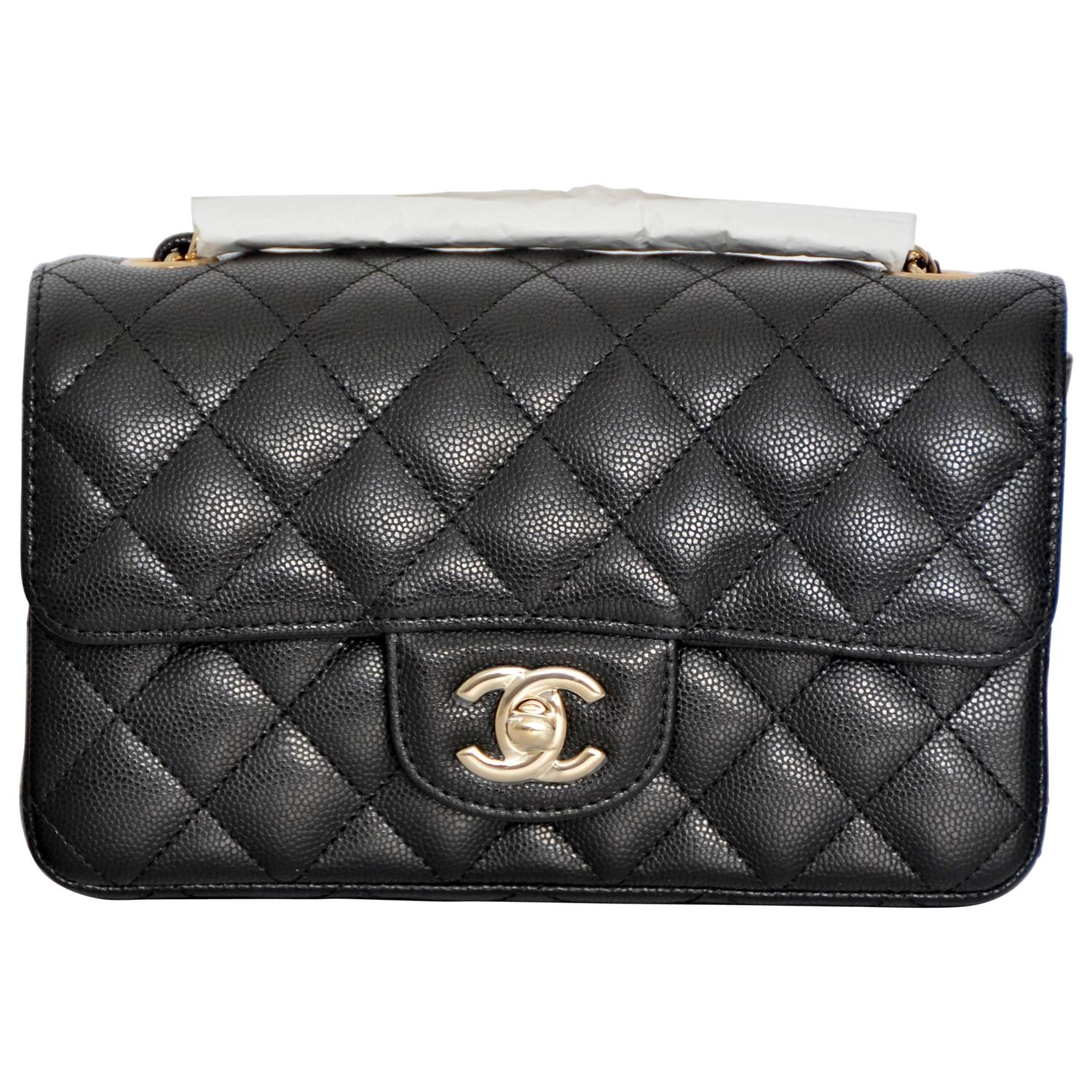 1250646ce643 CHANEL  17 Rectangle New Mini Black Caviar Light Gold Flap RARE SOLD OUT at  1stdibs