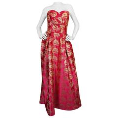 Extraordinary 1950s Helena Barbieri Pink & Gold Dress