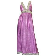 c1965-69 Lavender & Silver Beaded Oscar de la Renta Dress