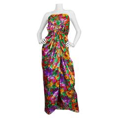 1980s Brilliant Metallic Floral Scaasi Strapless Boutique Dress