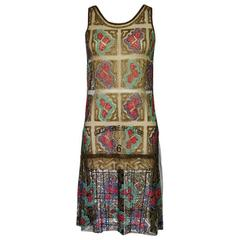 1920s French Made Sequin & Gold Lame Net Flapper Dress