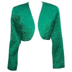 C.1980 Perry Ellis Emerald Green Quilted Satin Cropped Jacket