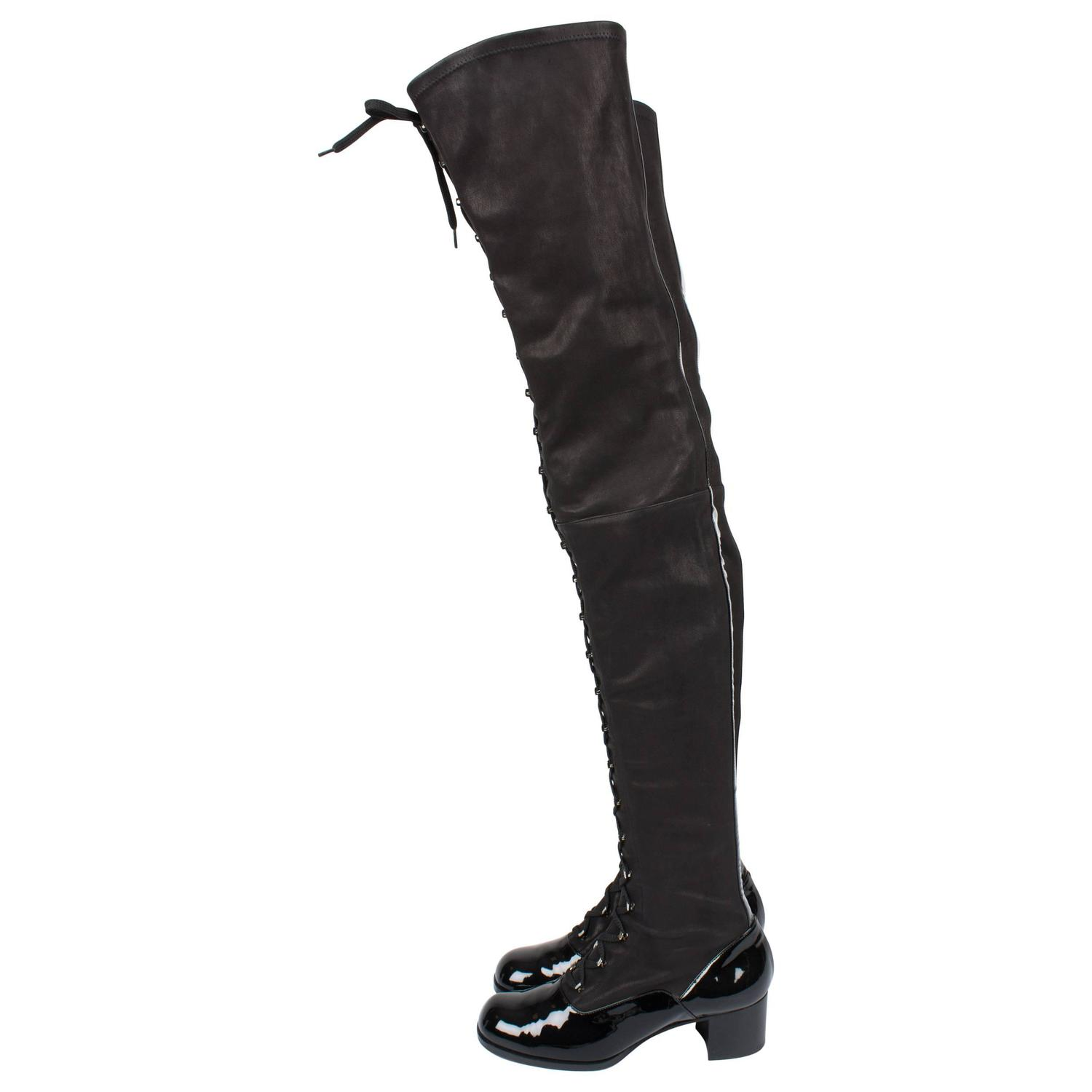 e84d21e1a0f Chanel Thigh High Lace-up Boots - black For Sale at 1stdibs