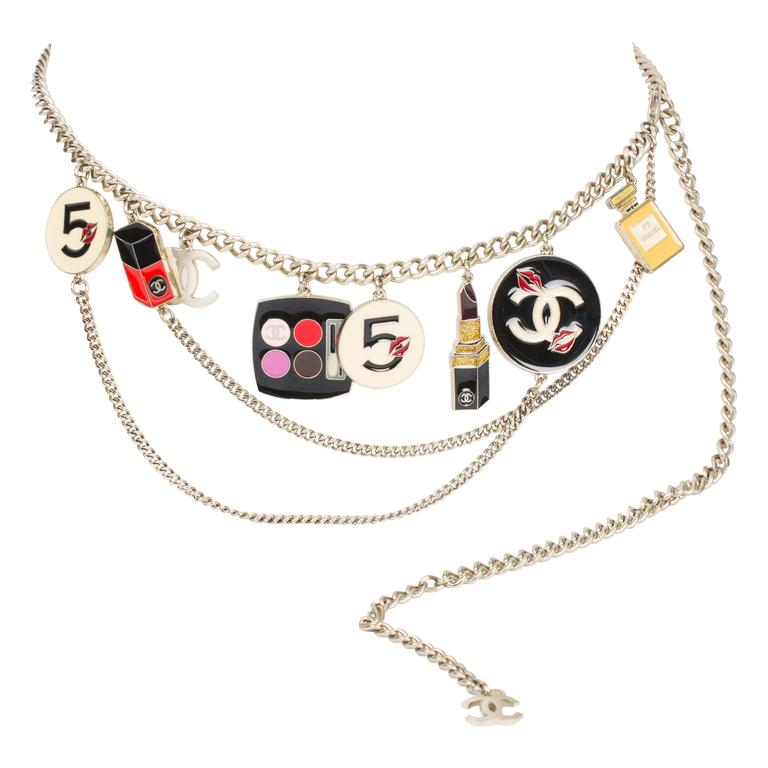 Chanel Enamel Charm Belt Necklace Make-up - silver 1