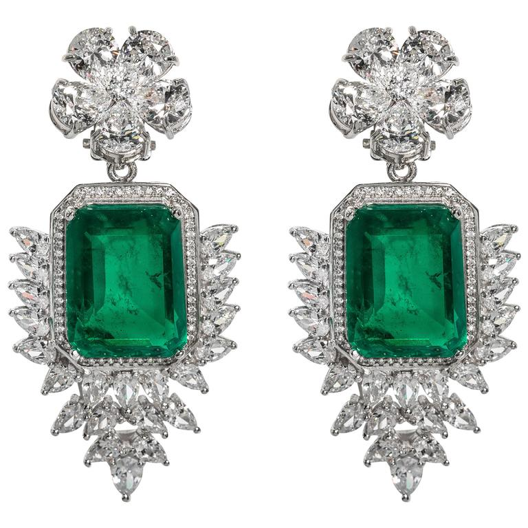 Elegant Faux Colombian Emerald Diamond Earrings 1