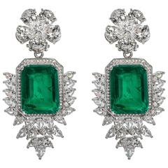 Elegant Faux Colombian Emerald Diamond Earrings