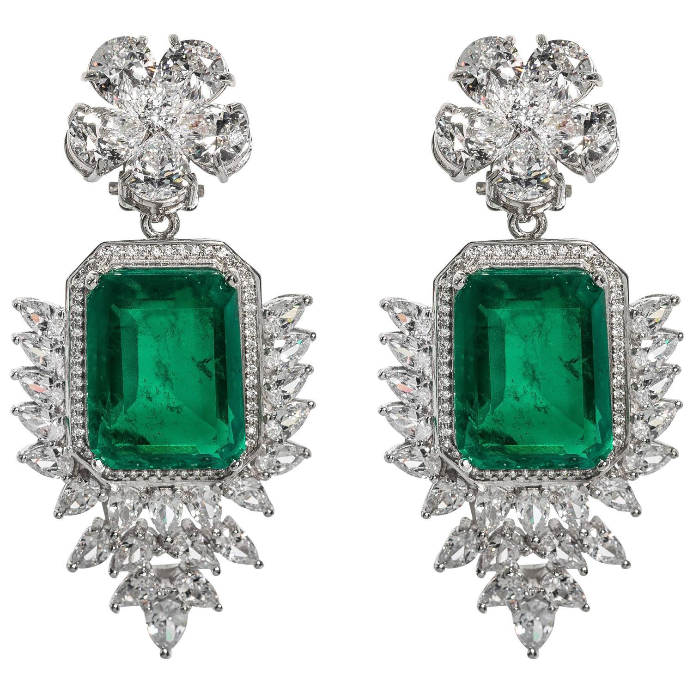 elegant faux colombian emerald diamond earrings for sale. Black Bedroom Furniture Sets. Home Design Ideas