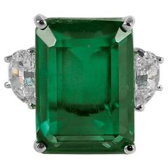 Magnificent Faux 25 Carat Rectangular Step Cut Green Emerald Diamond Ring