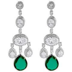 Faux Diamond Emerald Shimmering Girandole Chandelier Earring