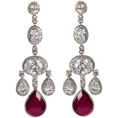 Magnificent Costume Jewelry Ruby Shimmering Girandole Chandelier Earrings