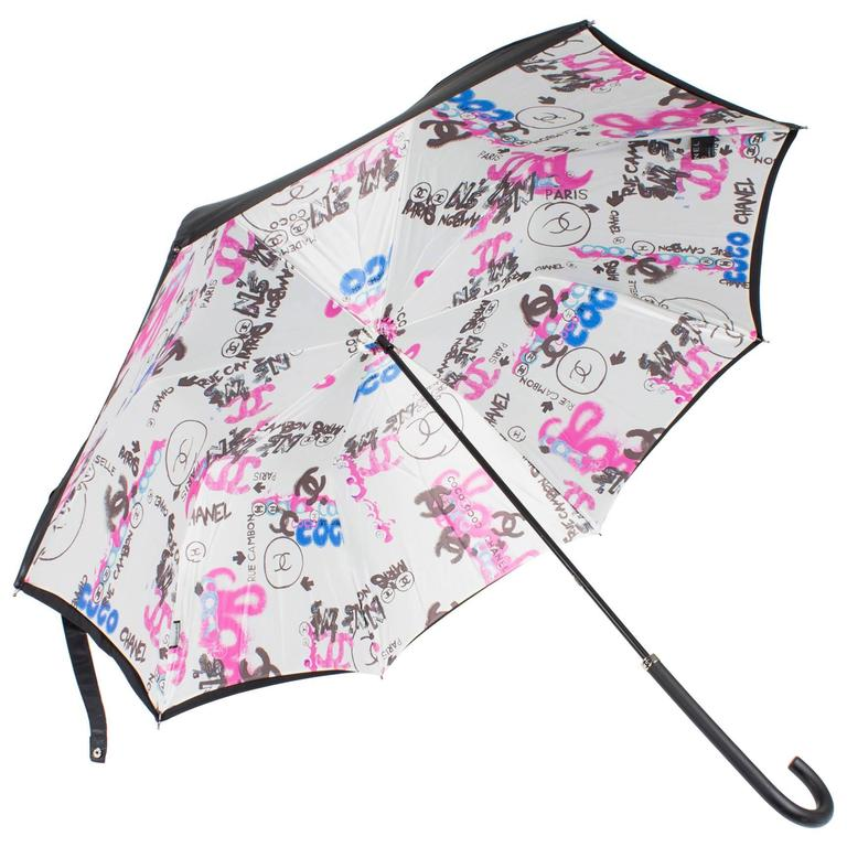 Chanel Logo Grafitti Print Umbrella - black/blue/pink/white For Sale