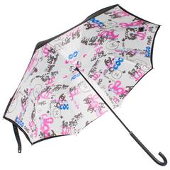 Chanel Logo Grafitti Print Umbrella - black/blue/pink/white