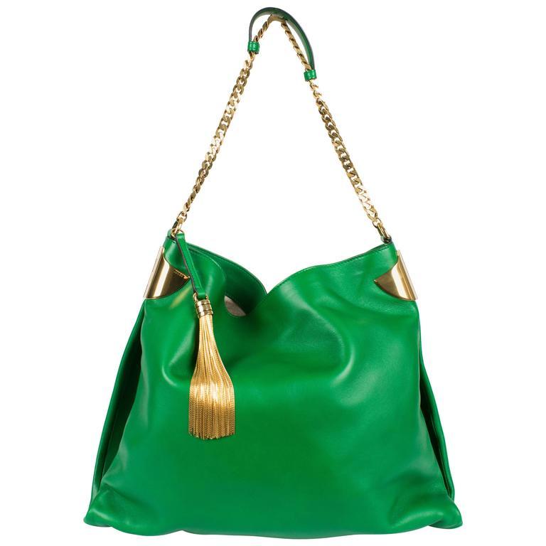 a3dc97f73 Gucci 1970 Medium Shoulder Bag - green leather/gold at 1stdibs