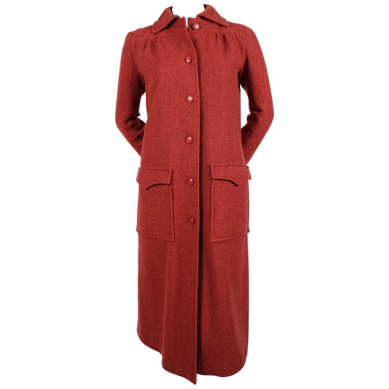 Courreges raspberry tweedy wool coat, 1970s