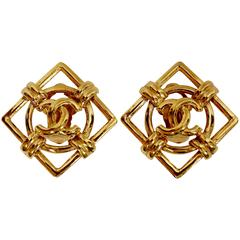 1995 CHANEL gilt 'CC' earrings