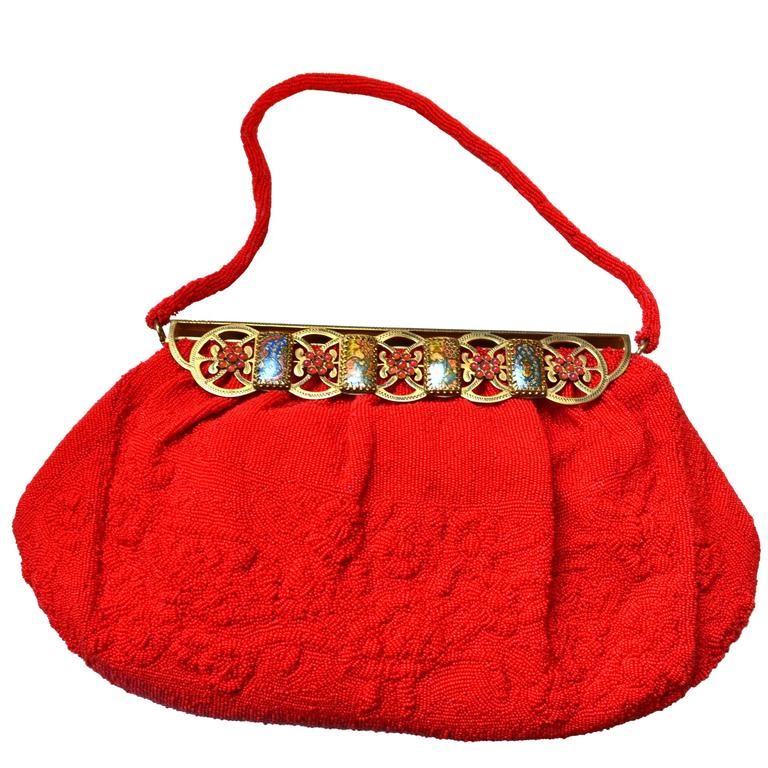 1950s Red Sagil Beaded Handbag 1