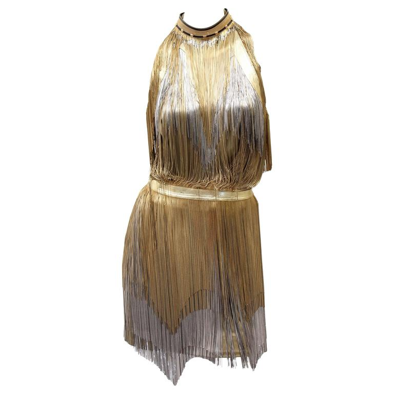 Versace Atelier Gold Fringed Tie Dyed Gabardine Dress For Sale