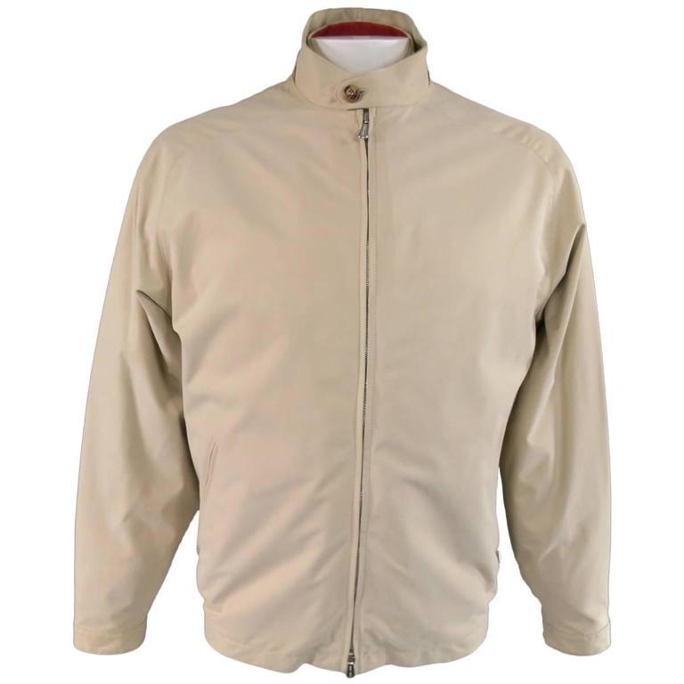 Men's LORO PIANA Jacket 44 Khaki Twill Roadster Pebble Beach Concours D'elegance
