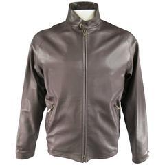 Men's LORO PIANA 44 Chocolate Brown Leather High Collar Jacket
