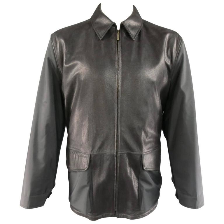 0957f69a Men's ERMENEGILDO ZEGNA 42 Black Pebbled Leather & Nylon Collared Coat