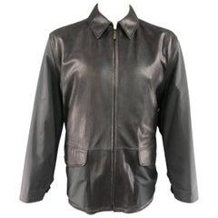 Men's ERMENEGILDO ZEGNA 42 Black Pebbled Leather & Nylon Collared Coat