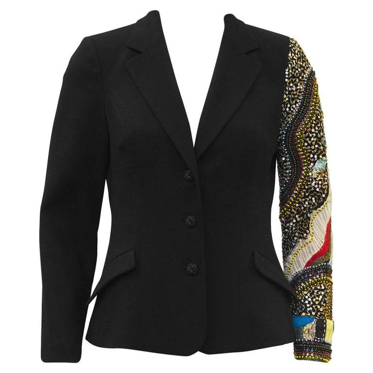 Early 2000 Christian Lacroix Jeweled Wool Blazer For Sale