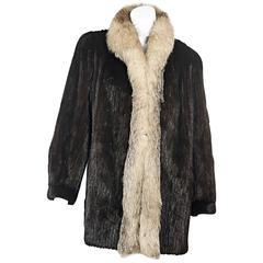 Brown Vintage Mink & Fox Fur Coat