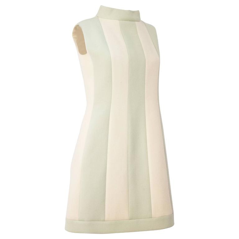 60s Carven Boutique Cream & Mint Mock Turtle Neck Dress For Sale