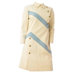 60s Mod Cream & Baby Blue Long Sleeve Shift